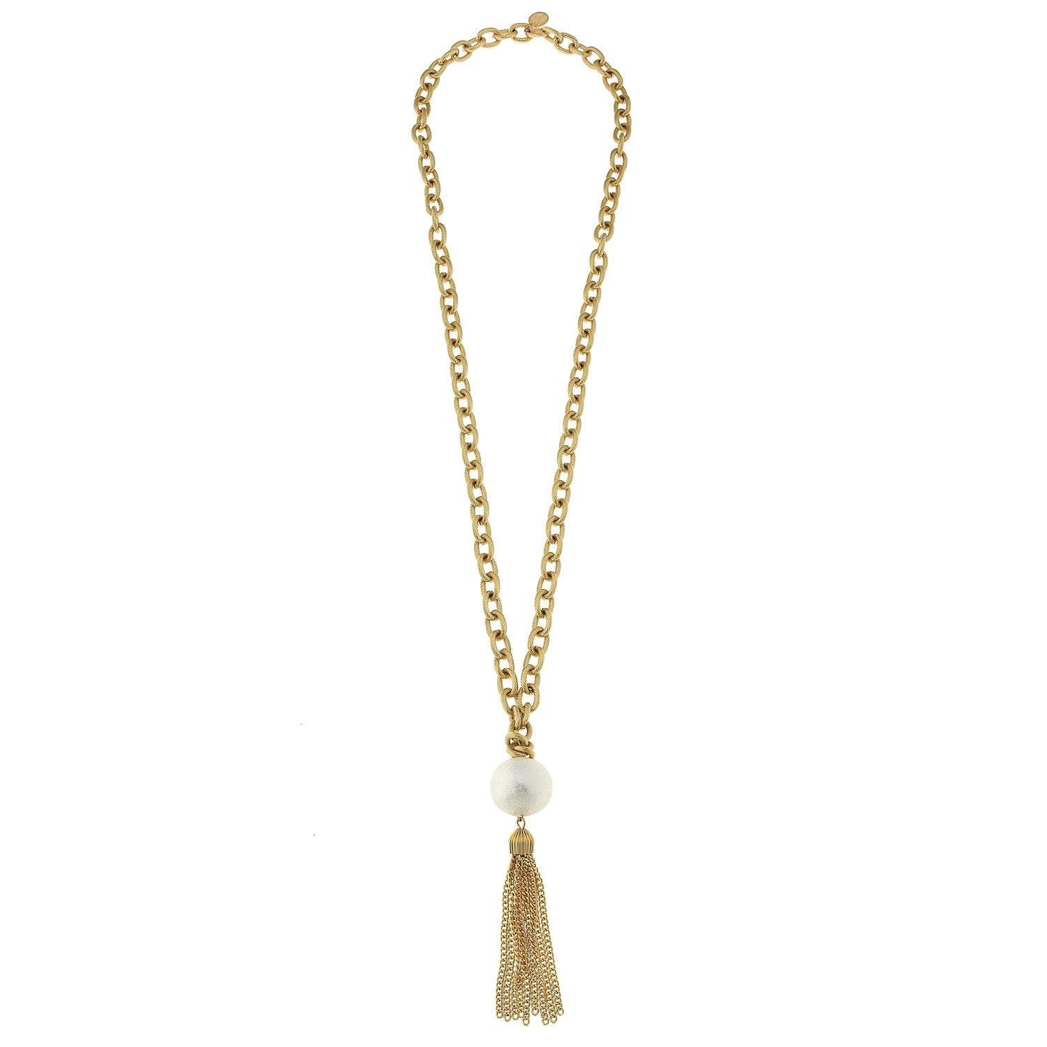 Susan Shaw Handcast Gold with Genuine Cotton Pearl Necklace