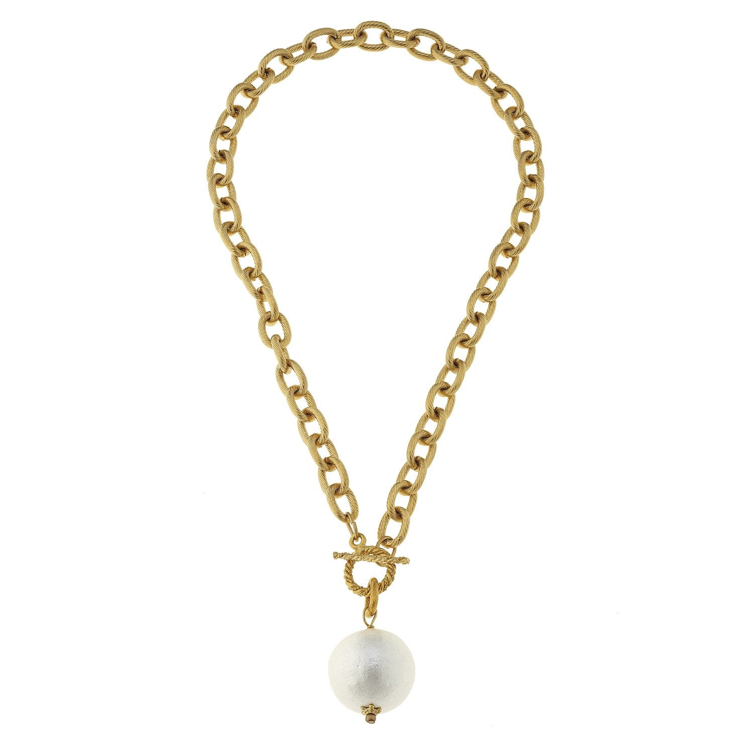 Susan Shaw Genuine Cotton Pearl on Toggle Necklace