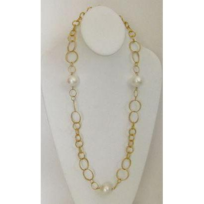 "Susan Shaw 30"" Handcast Gold Chain with Cotton Pearls Necklace-Susan Shaw Jewelry-Blue Hand Home"