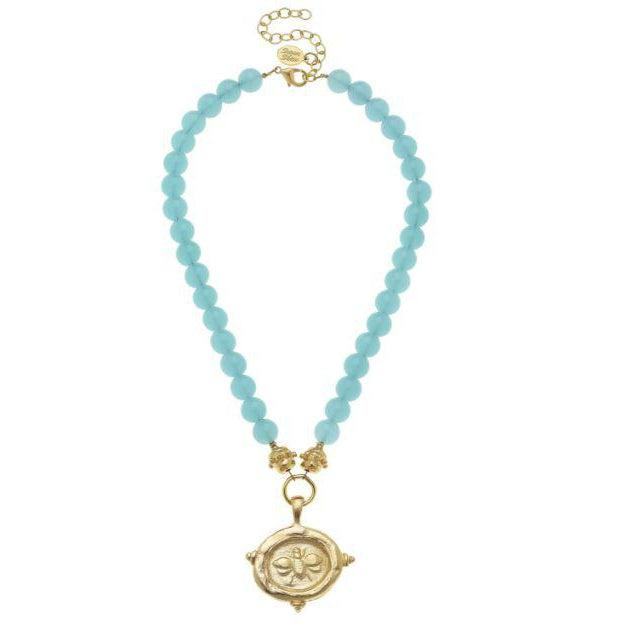 Susan Shaw Gold Bee Intalgio on Aqua Quartz Necklace