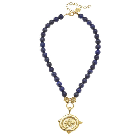 Susan Shaw Gold Bee Intalgio on Blue Lapis Necklace
