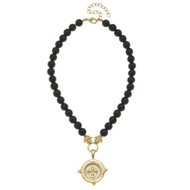 Susan Shaw Gold Fleur De Lis Intalgio on Black Onyx Necklace-Susan Shaw Jewelry-Blue Hand Home