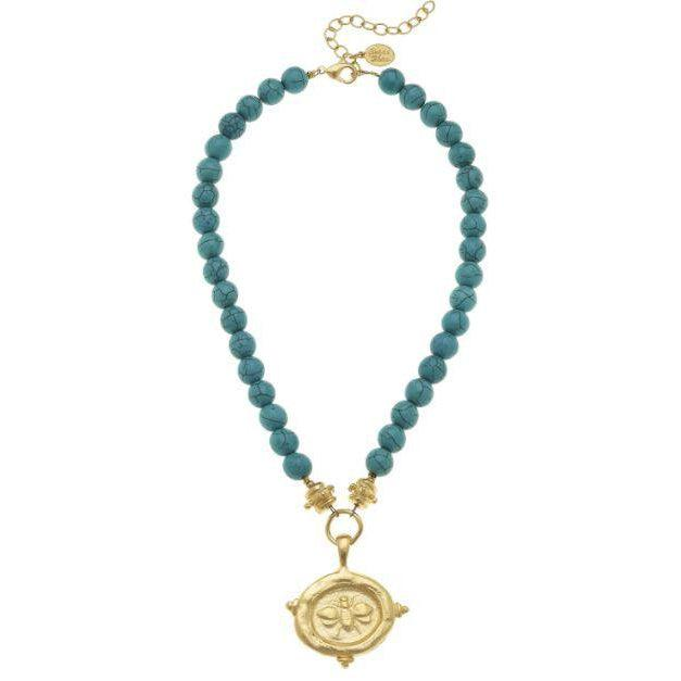 Susan Shaw Gold Bee Intalgio on Genuine Turquoise Necklace-Susan Shaw Jewelry-Blue Hand Home