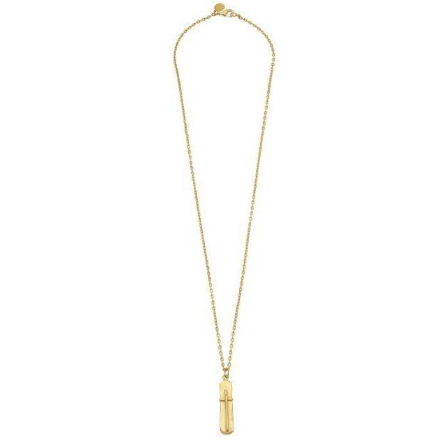 Susan Shaw Bar Cross on 30in Thin Textured Chain Necklace - Gold