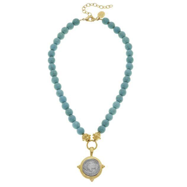 Susan Shaw Genuine Turquoise Necklace w/ Buffalo Nickel Coin Pendant - Gold-Susan Shaw Jewelry-Blue Hand Home
