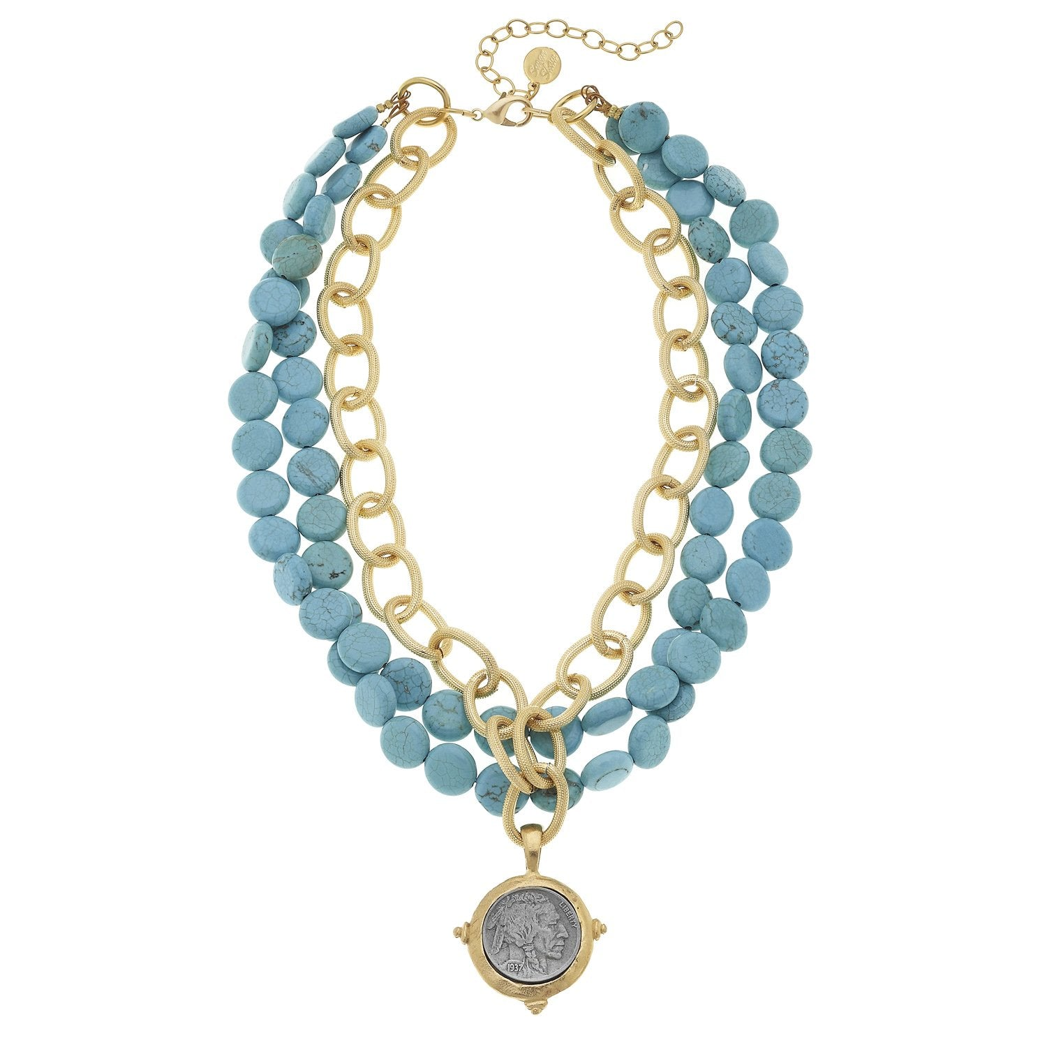 Susan Shaw Indian Coin on Genuine Multi Strand Turquoise Necklace, Gold