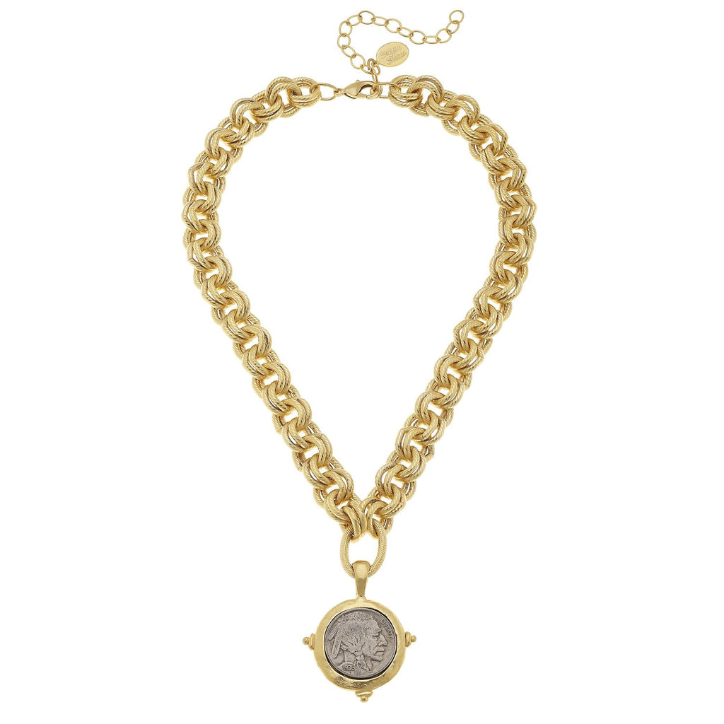 Susan Shaw Vintage Indian Head on Buffalo Nickel w/ Double Linked Chain Necklace - Gold-Susan Shaw Jewelry-Blue Hand Home