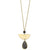 Susan Shaw Long Textured Chain with Gold Half Moon & Genuine Labradorite
