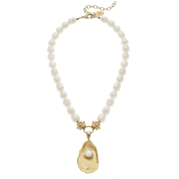 Susan Shaw Handcast Gold Oyster w/ Handset Genuine Freshwater Pearl Necklace