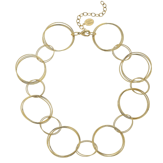 Susan Shaw Handcast Multi Gold Ring Necklace