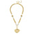 Susan Shaw Bee Intaglio on Textured Chain Necklace w/ Ivory Glass Pearl Accents