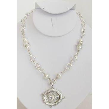 Susan Shaw Bee Intaglio on Textured Chain Necklace w/ Ivory Glass Pearl Accents - Silver