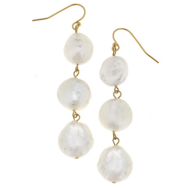 Susan Shaw Handcast Gold & 3 Genuine Coin Pearl Earrings-Susan Shaw Jewelry-Blue Hand Home