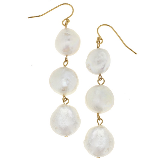 Susan Shaw Handcast Gold & 3 Genuine Coin Pearl Earrings