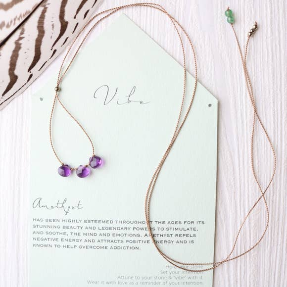 3 Stone - Amethyst Necklace-Vibe-Blue Hand Home