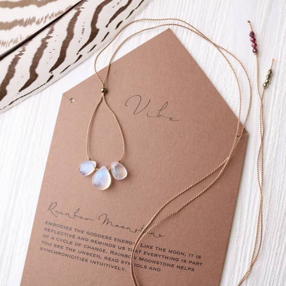 3 Stone - Rainbow Moonstone Necklace-Vibe-Blue Hand Home
