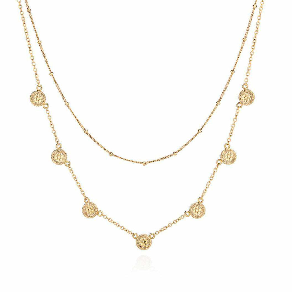 Anna Beck Double Chain Disc Necklace - Gold-Anna Beck Jewelry-Blue Hand Home