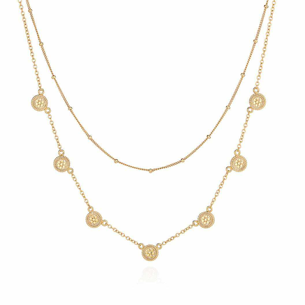 Anna Beck Double Chain Disc Necklace - Gold