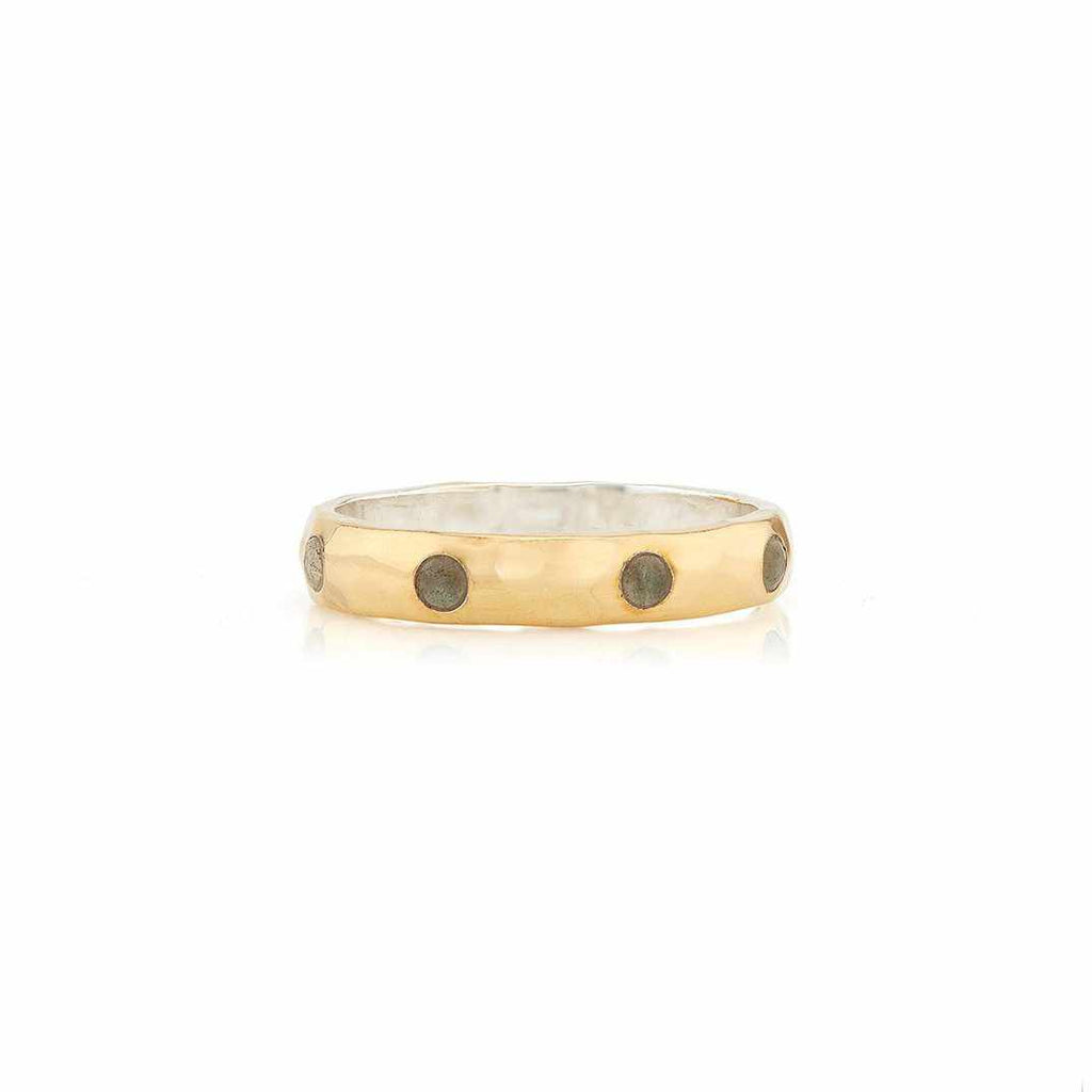 Anna Beck Labradorite Hammered Pavé Stacking Band - Gold-Anna Beck Jewelry-Blue Hand Home