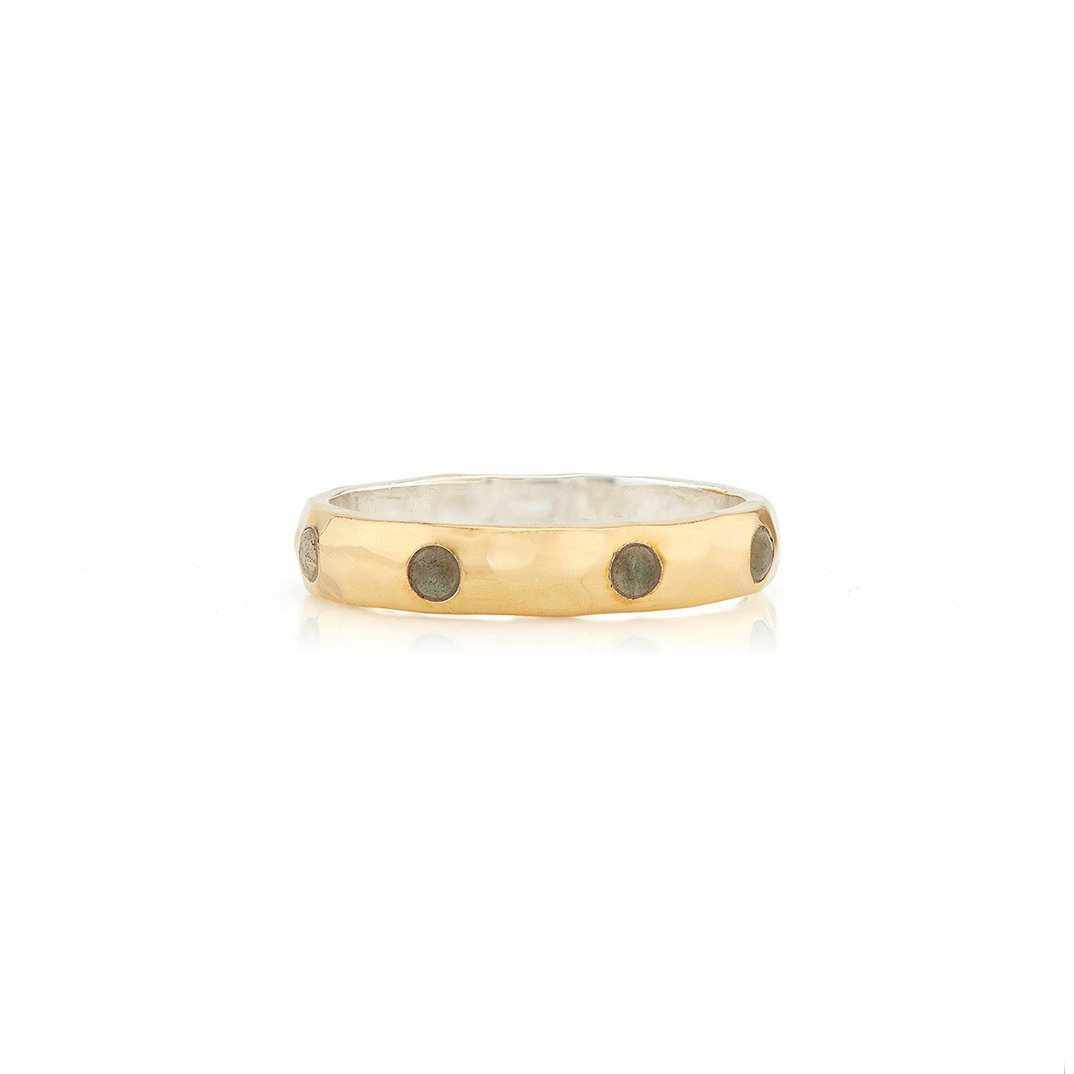 Anna Beck Labradorite Hammered Pavé Stacking Band - Gold