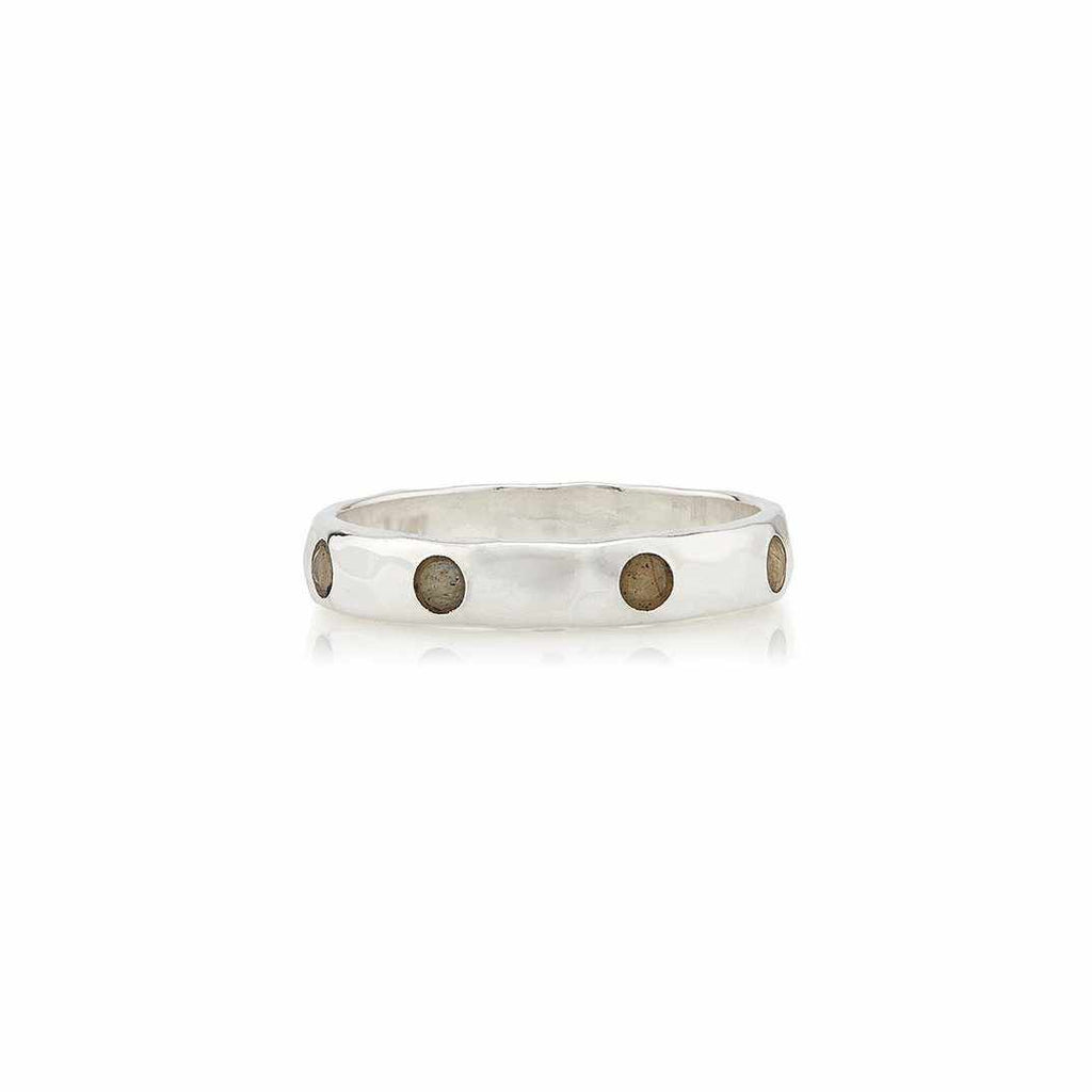 Anna Beck Labradorite Hammered Pavé Stacking Band - Silver-Anna Beck Jewelry-Blue Hand Home