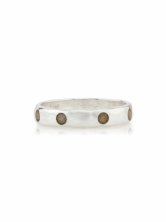 Anna Beck Labradorite Hammered Pavé Stacking Band - Silver