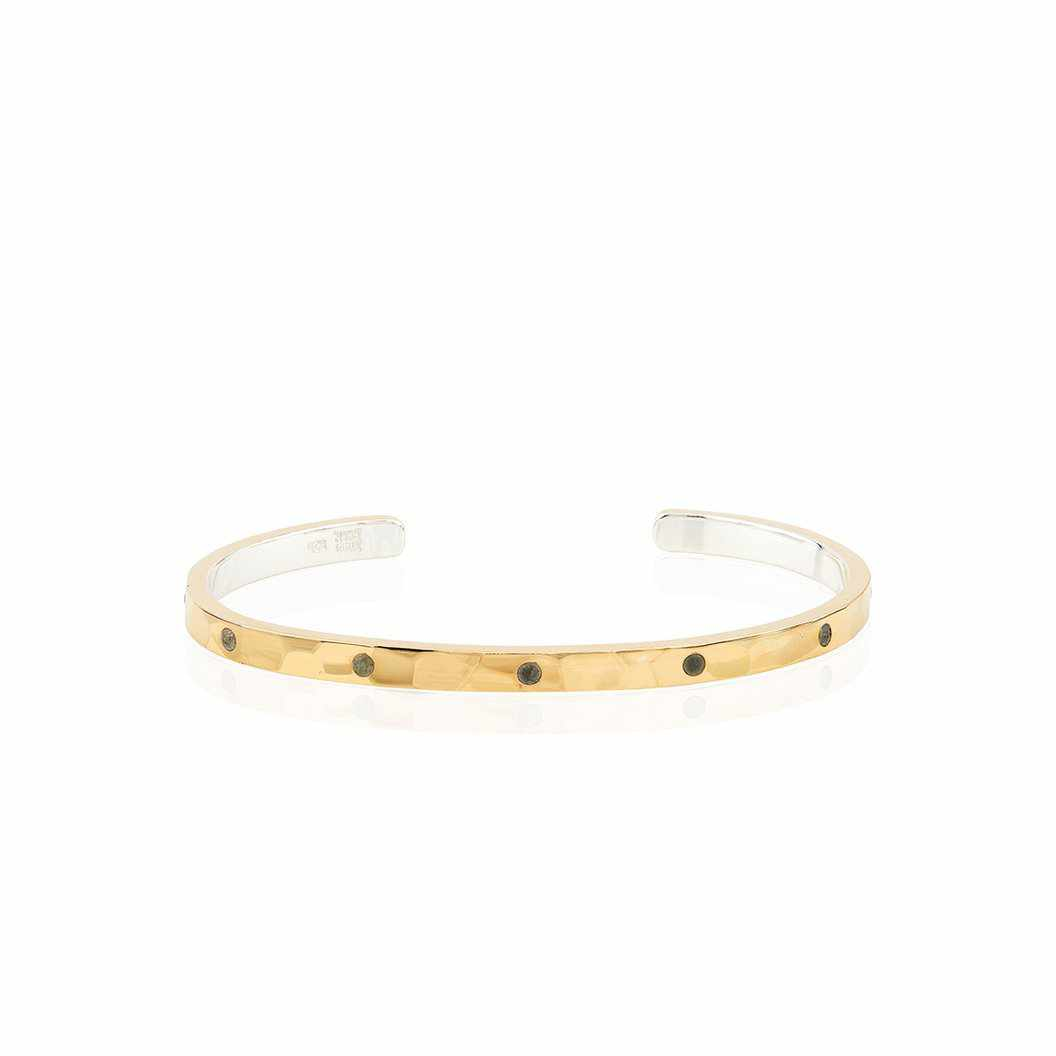 Anna Beck Labradorite Hammered Pavé Stacking Cuff - Gold