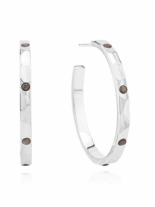 Anna Beck Medium Labradorite Hammered Pavé Hoop Earrings - Silver