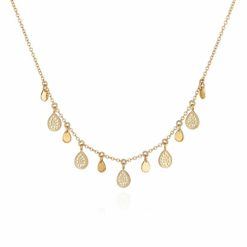 Anna Beck Teardrop Charm Collar Necklace - Gold-Anna Beck Jewelry-Blue Hand Home