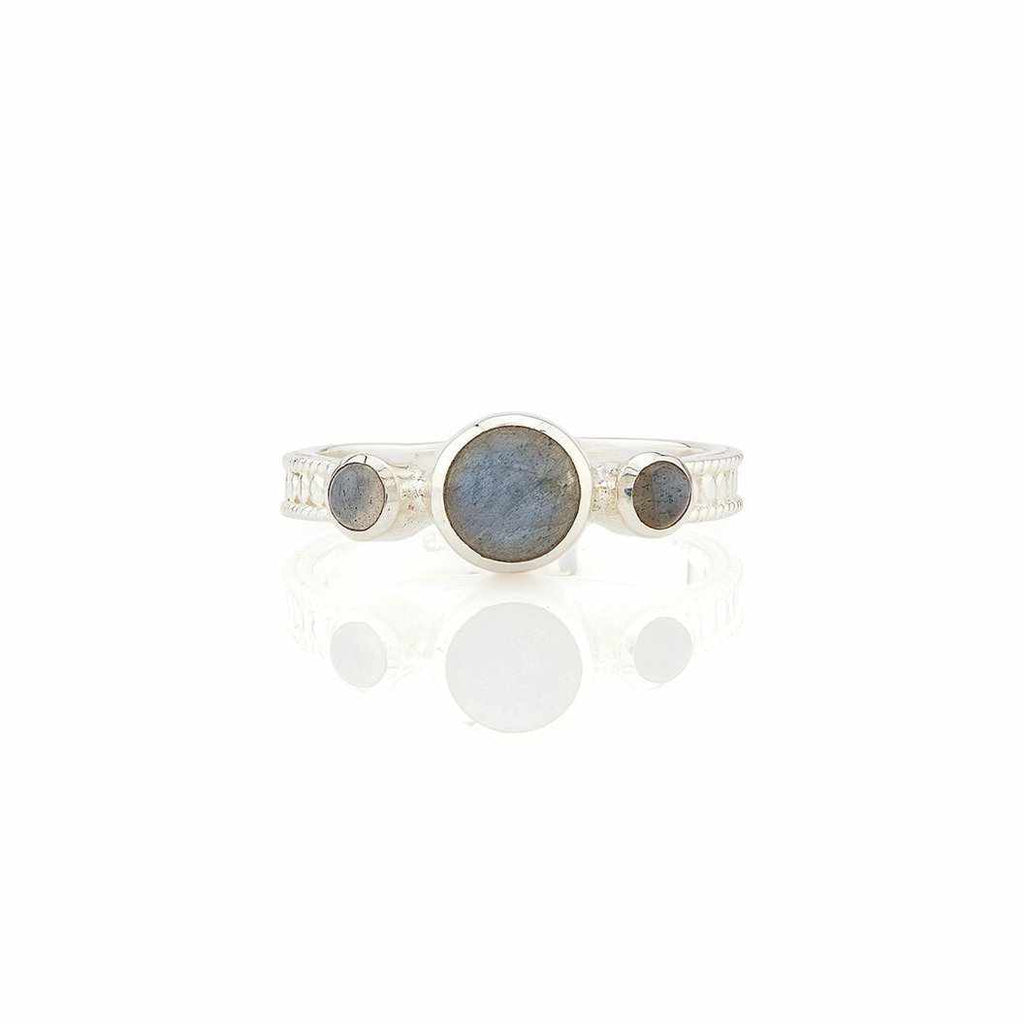 Anna Beck Labradorite Triple Stone Stacking Ring - Silver-Anna Beck Jewelry-Blue Hand Home