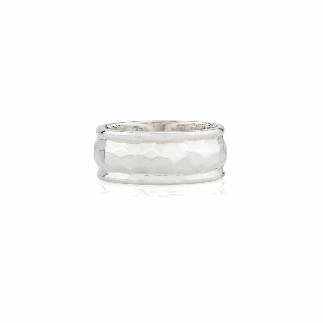 Anna Beck Hammered Cigar Ring - Silver