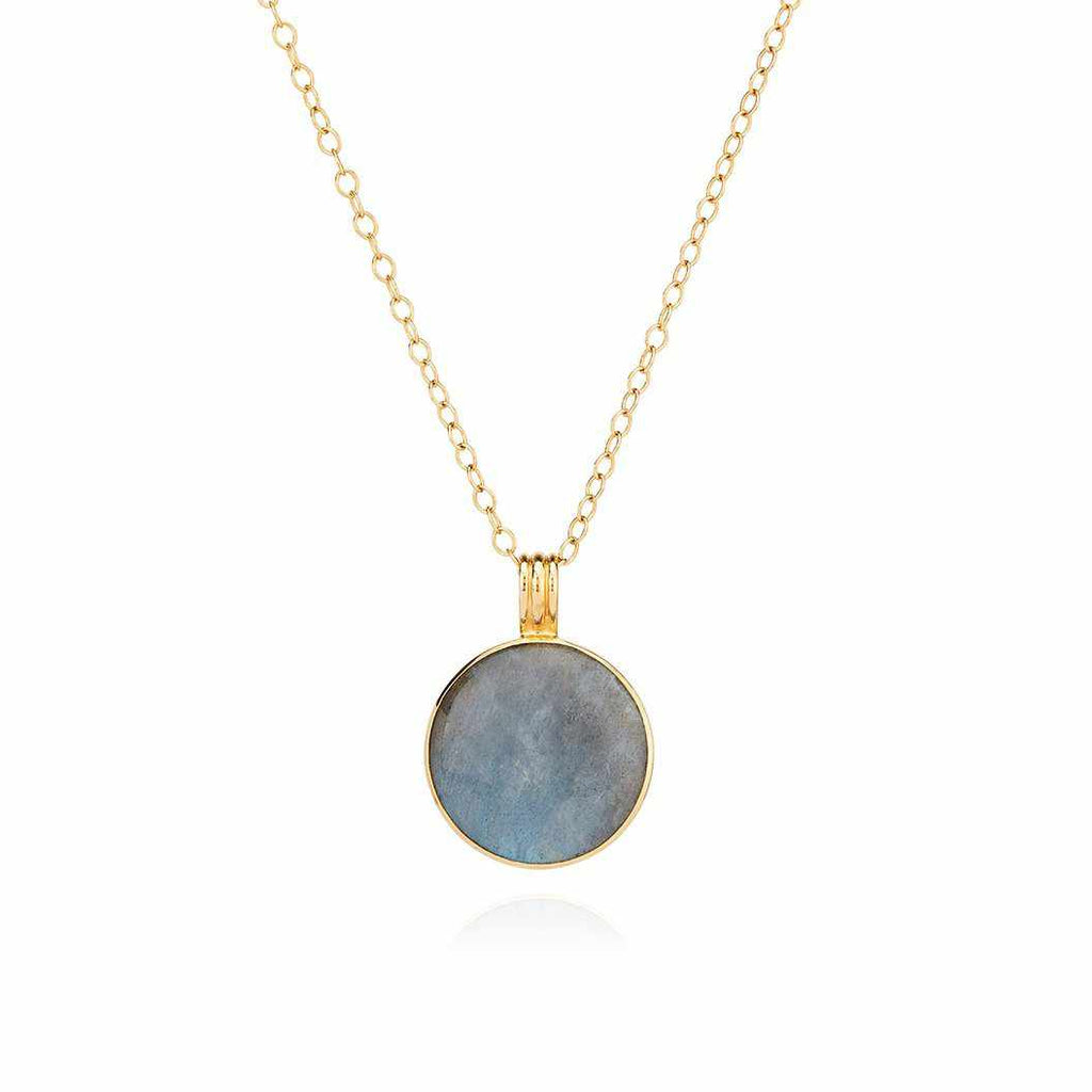 Anna Beck Large Labradorite Pendant Necklace - Gold-Anna Beck Jewelry-Blue Hand Home