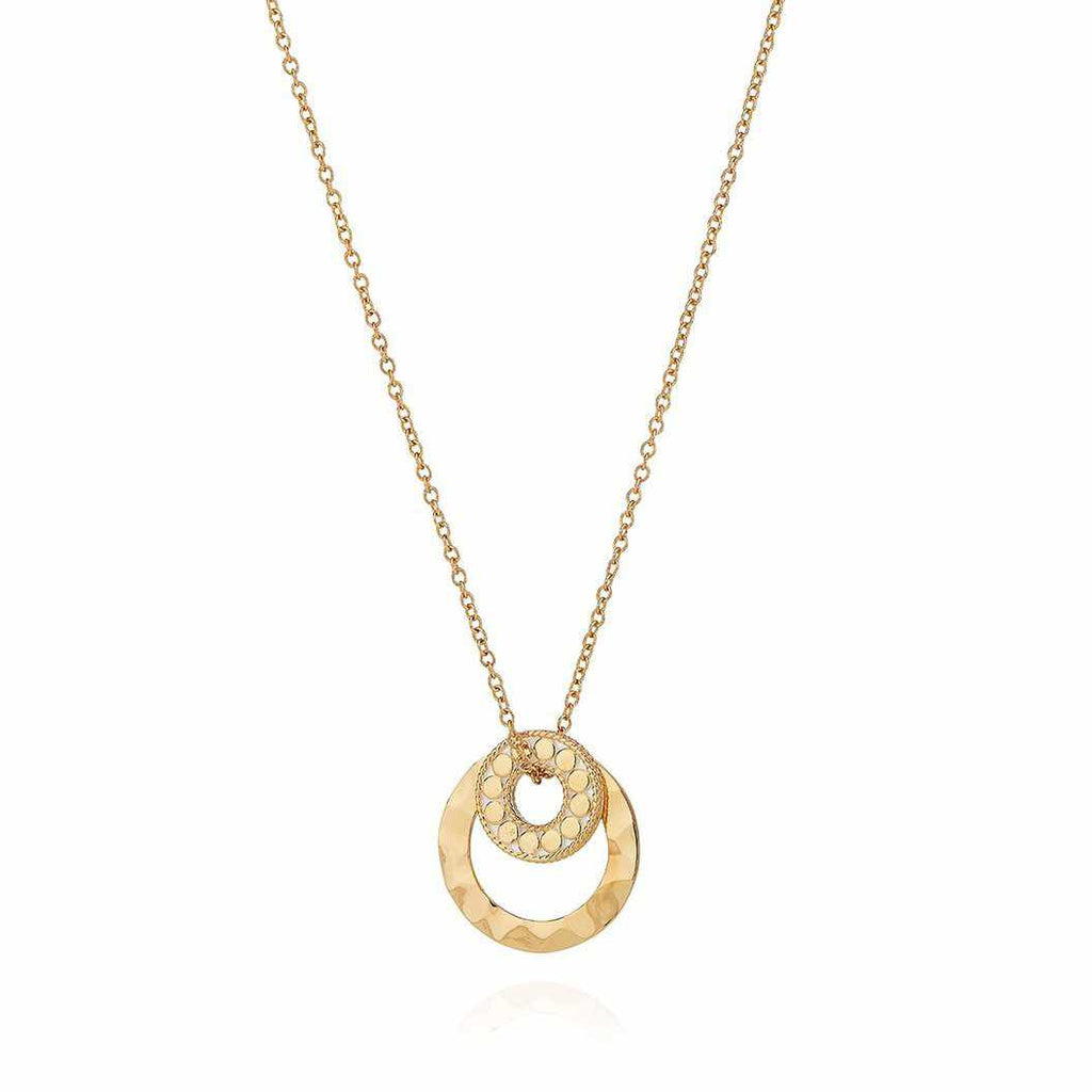 Anna Beck Hammered Double Circle Necklace - Gold-Anna Beck Jewelry-Blue Hand Home