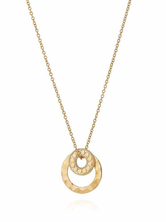 Anna Beck Hammered Double Circle Necklace - Gold