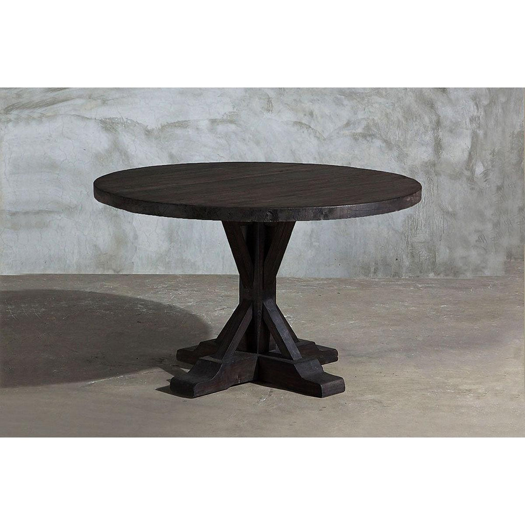 Reclaimed Elm Round Dining Table  - Rail Base