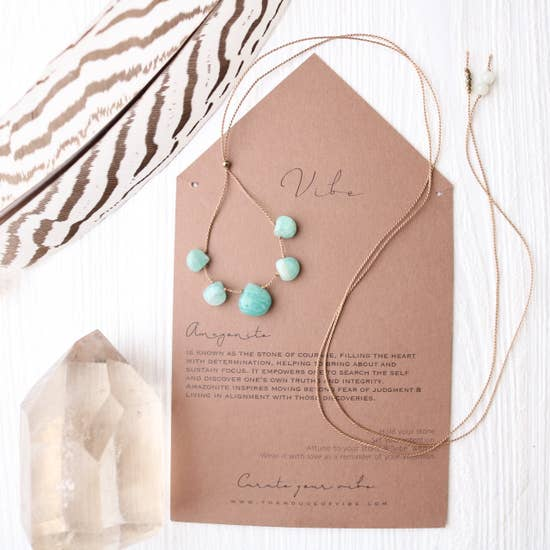 5 Stone - Amazonite Necklace-Vibe-Blue Hand Home
