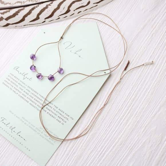 5 Stone - Amethyst Necklace-Vibe-Blue Hand Home