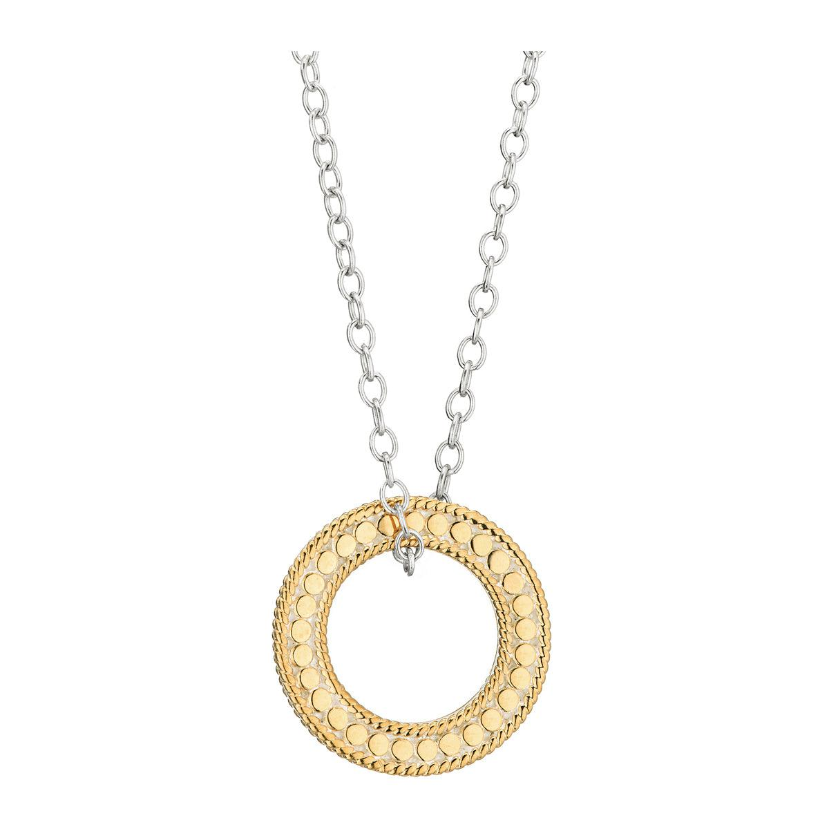 "Anna Beck Gili Circle of Life Open ""O"" Necklace - Silver and Gold"