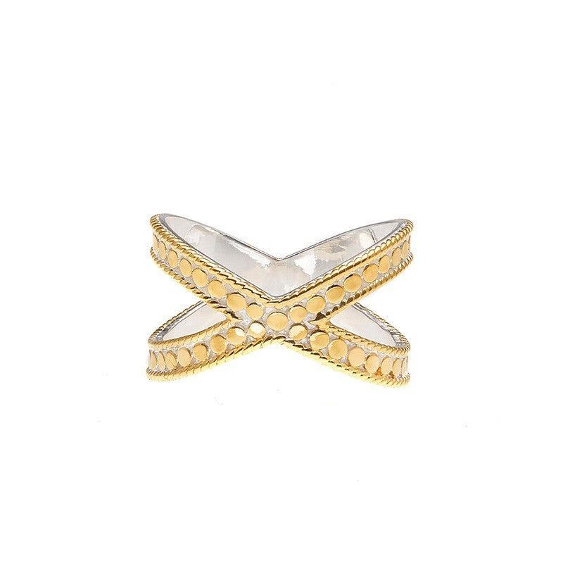 Anna Beck Single Cross Ring - Gold-Blue Hand Home