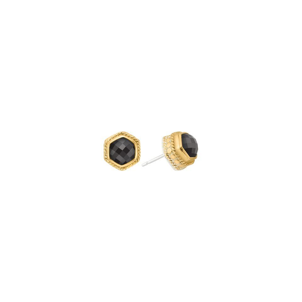 Anna Beck Grey Sapphire Hexagon Stud Earrings - Gold