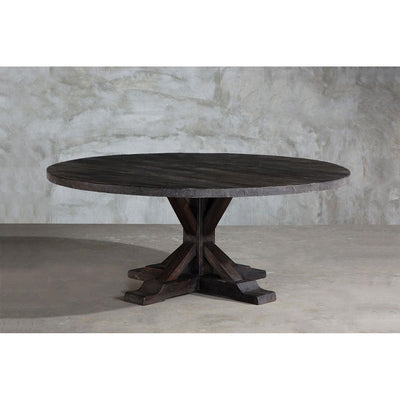 Reclaimed Elm Round Dining Table - Rail Base-Organic Restoration-Blue Hand Home