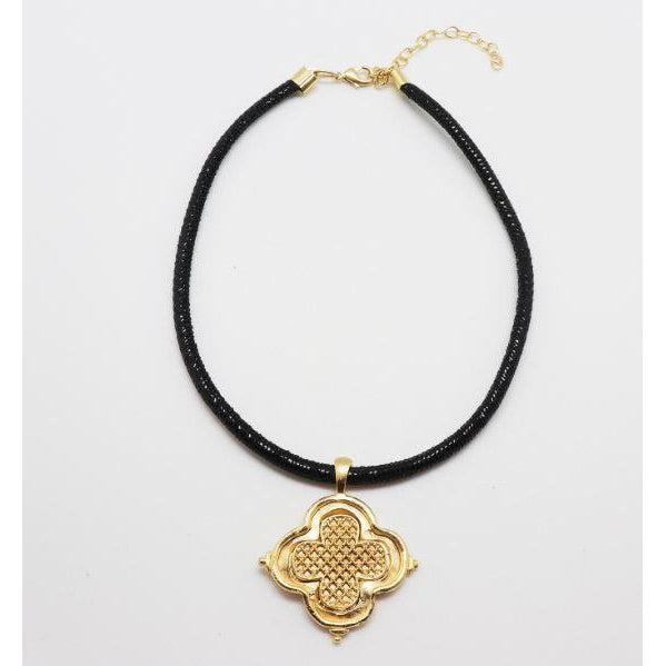 Susan Shaw Handcast Gold Clover on Black Leather Necklace-Susan Shaw Jewelry-Blue Hand Home