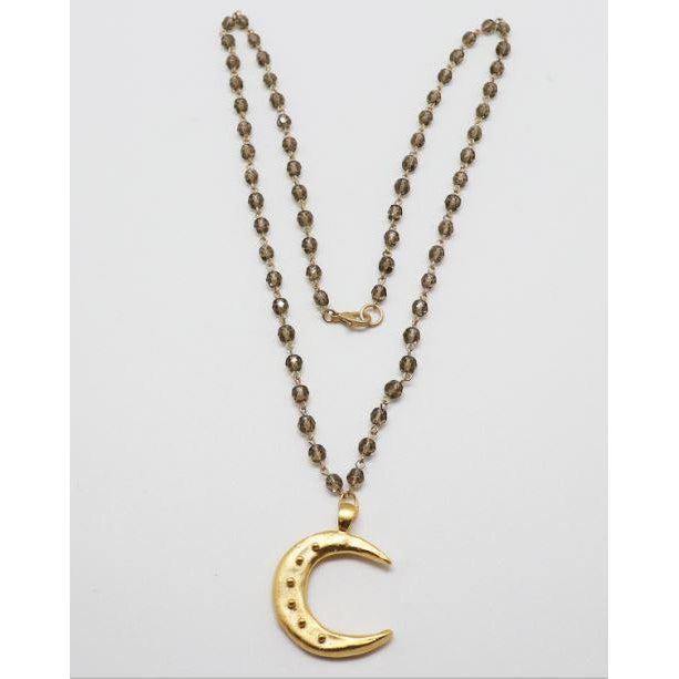 "Susan Shaw 30"" Gold Moon and Black Diamond Crystal Necklace-Susan Shaw Jewelry-Blue Hand Home"