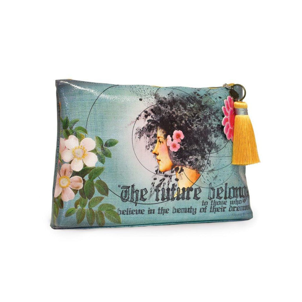 Papaya Future Belongs - Large Accessory Pouch-Papaya Art-Blue Hand Home