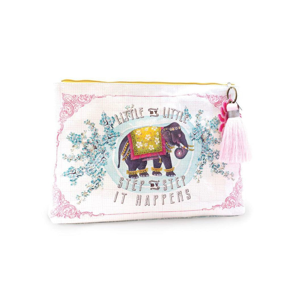 Papaya Little Elephant - Large Accessory Pouch-Papaya Art-Blue Hand Home