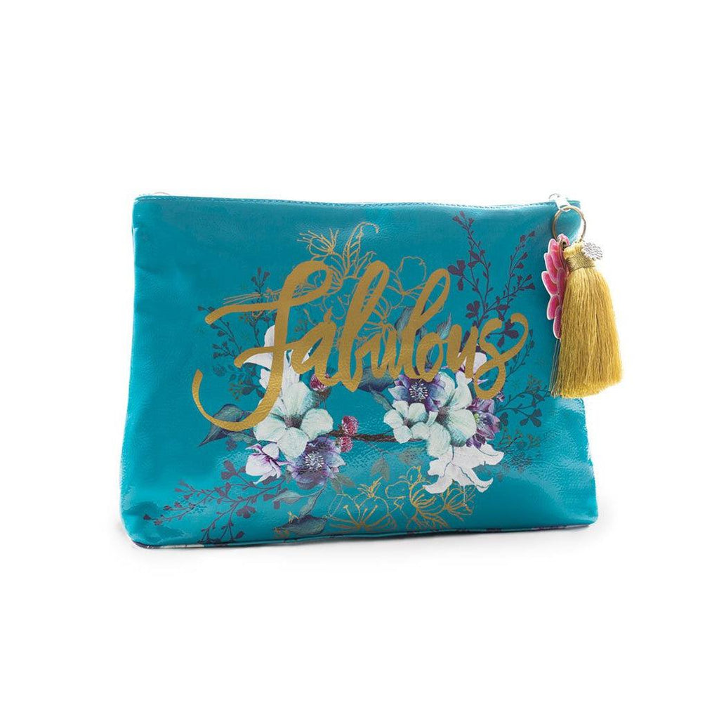 Papaya Fab - Large Accessory Pouch-Papaya Art-Blue Hand Home