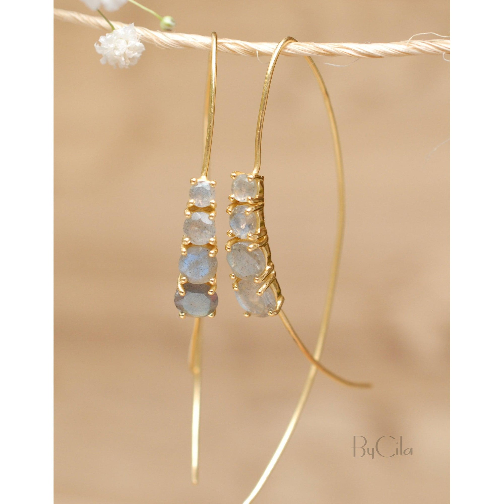 Aja Earrings - Labradorite-ByCila-Blue Hand Home