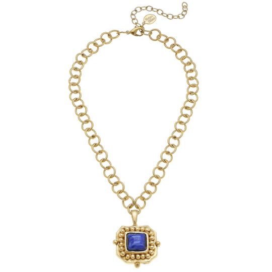 Susan Shaw Handcast Gold Blue Crystal Pendant Chain Necklace