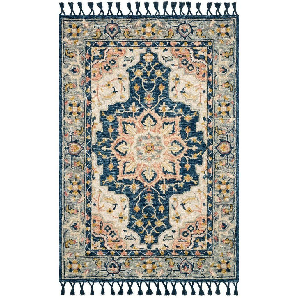 Joanna Gaines Kasuri Rug Collection - Blue/Multi-Loloi Rugs-Blue Hand Home