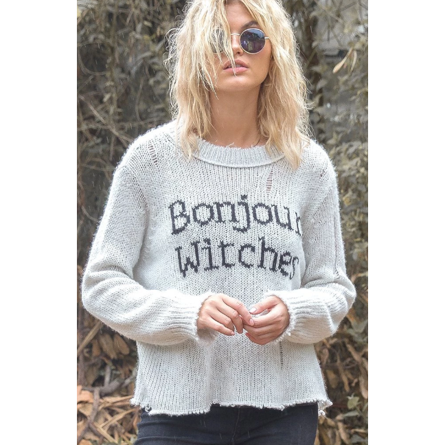 Bonjour Witches Slouchy Pullover-Wooden Ships-Blue Hand Home